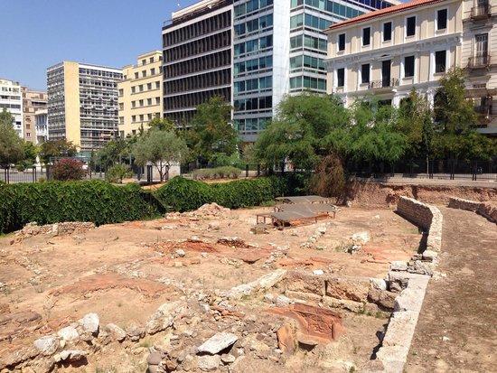 Archaeological remnants inside Kotzia square.