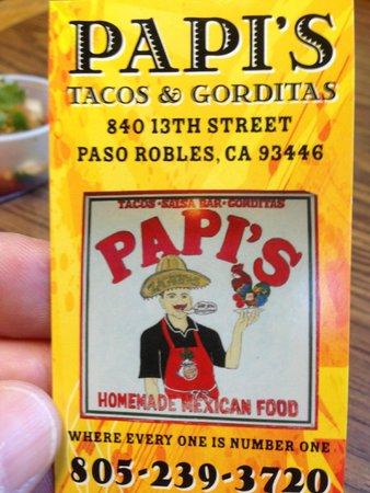 Papi's: business card