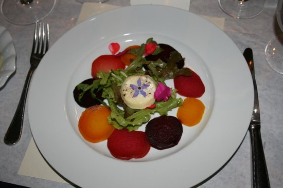 Cafe Esperance: Colorful Beet Carpaccio with Chevre Flan