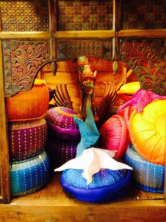 Acadia World Traders: colorful pillows and poufs