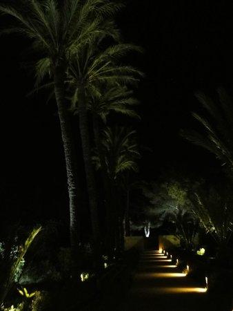 Fontsanta Hotel, Thermal Spa & Wellness: Mal eine andere Stimmung, als die sonstigen Bilder - der Hauptweg des Hotels bei Nacht.