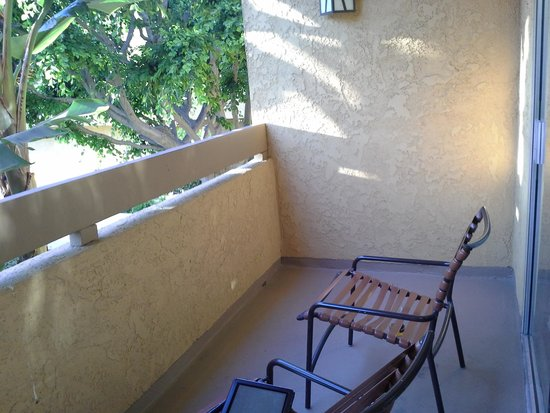Atrium Hotel at Orange County Airport: Huge balcony overlooking the pool