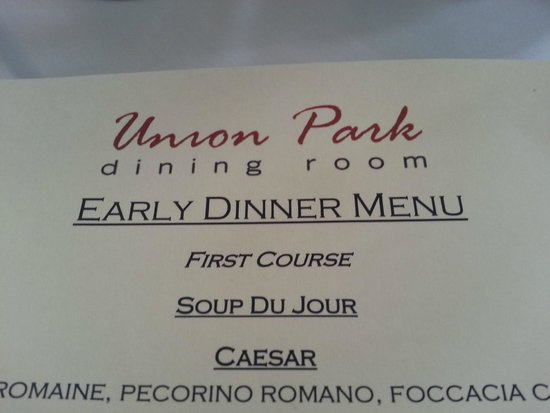 Union Park Dining Room : Early Dinner Menu