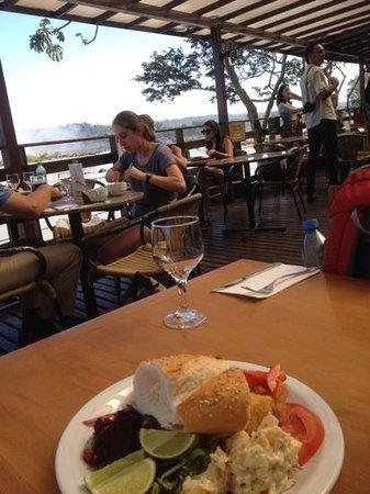 Porto Canoas: Lunch next to the falls.
