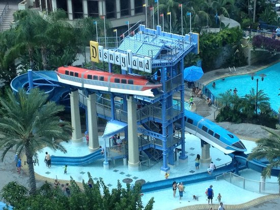 Monorail Pool Slides From Room Picture Of Disneyland Hotel Anaheim Tripadvisor