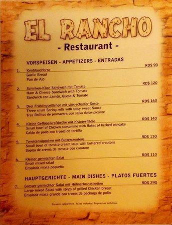 Hotel el Rancho: Small part of the menu.