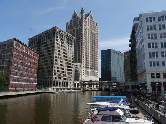Milwaukee RiverWalk: Some modern craft moored on the Milwaukee River