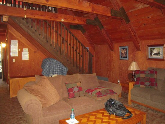 Owl's Nest Lodging : Living room with stairs to loft bedroom
