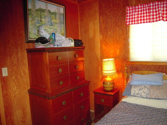 Owl's Nest Lodging : Main level bed room with dresser and large closet
