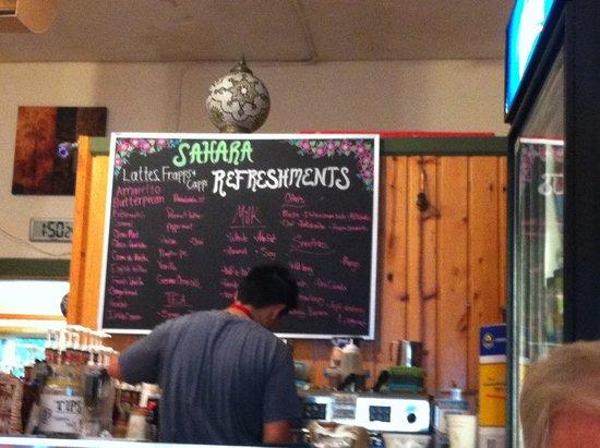 Sahara Cafe: Coffee menu