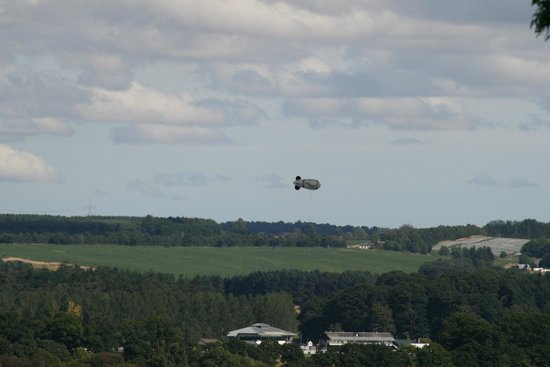 Blimp in distance from roof of Huntingtower Castle