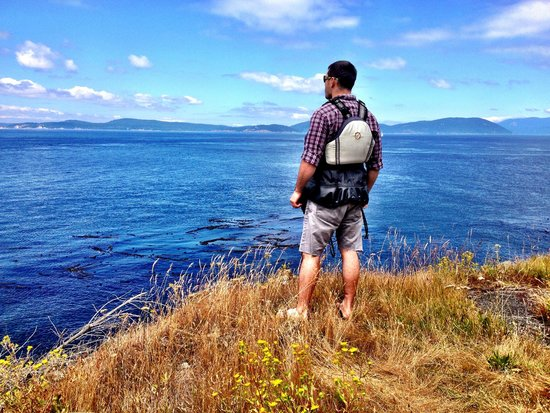 Anacortes Kayak Tours: Spectacular views during our mid trip snack break on a historical island.