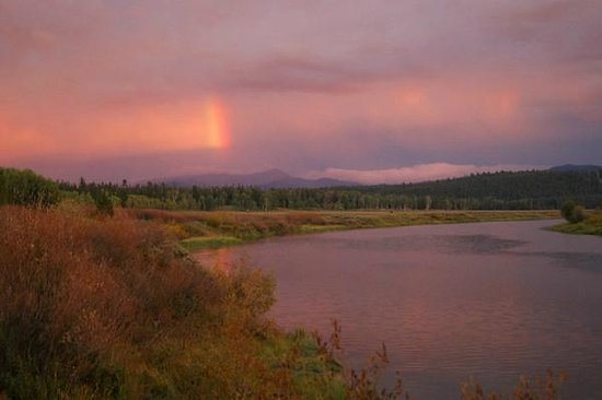 Oxbow Bend: Looking East during sunset at a triple rainbow