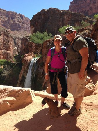 "Havasupai Falls : ""Havi"" in our shadows at the falls"