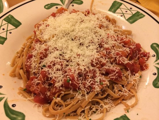Olive Garden: Whole wheat linguini with plenty of cheese (keep asking if they skimp)