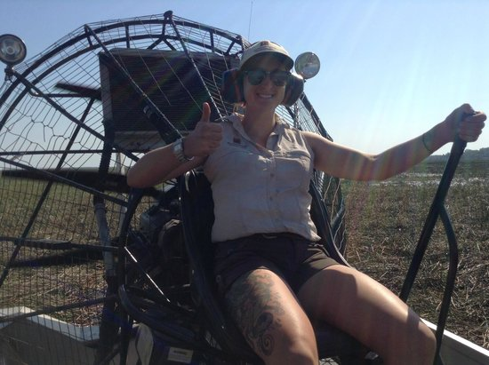 Bamurru Plains: Estelle driving the air boat