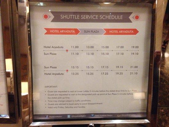 Aryaduta Medan: Shuttle ke sun plaza