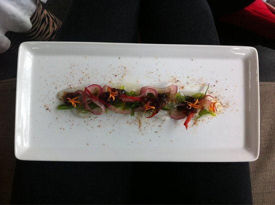 Rasa Restaurant and Lounge: Perfectly presented and well thought out squid entree!