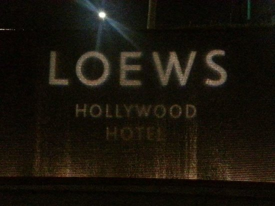 Loews Hollywood Hotel: Hotel marquee at night
