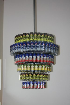 New Belgium Brewing: beer can chandelier