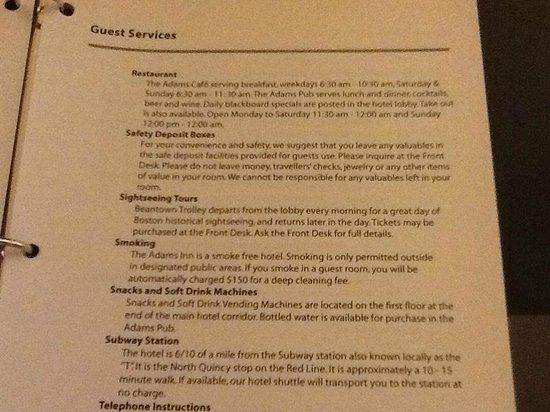 Best Western Adams Inn Quincy-Boston: Subway Policy