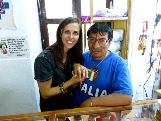 Artesanias Juanita: Mario and I with the unique ring that he made in store while I watched and waited!