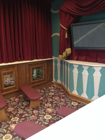 Focus on the Family Welcome Center: Bench seating in a tiny theater.