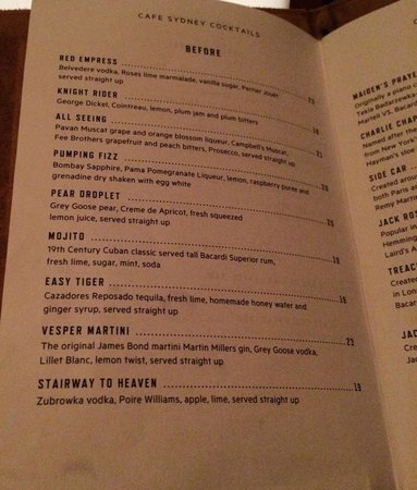 Cafe Sydney : Cocktail menu