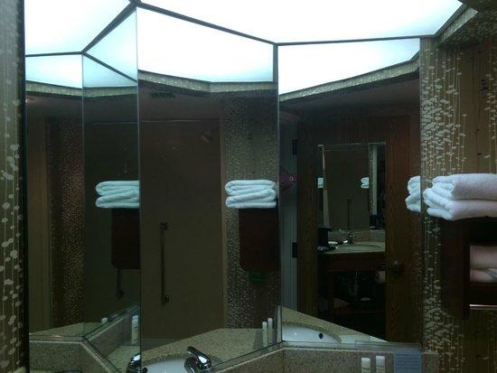 Hampton Inn Charlotte / Matthews: Bathroom sink with Tri-panel Mirror