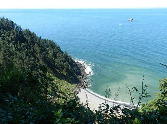 Ecola State Park: View out to Tillamook Rock Lighthouse from Clatsop Loop Trail
