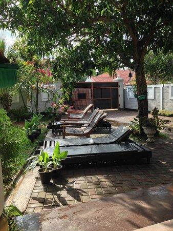 Serendib Guest House: lettini in piscina