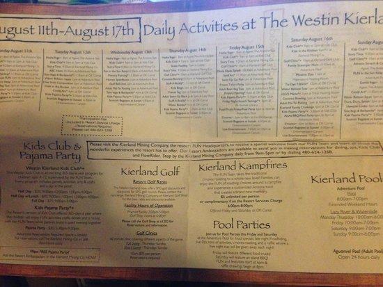 The Westin Kierland Villas: activities sample for the kierland resort, not villas