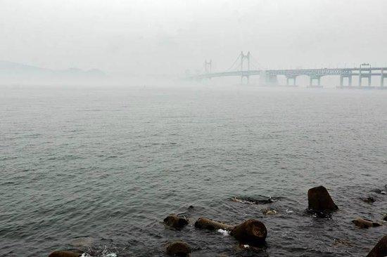 Gwangandaegyo Bridge: Мост в туманный день