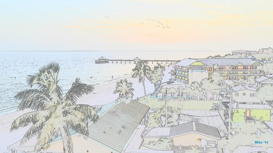 Fort Myers Beach : Electronic watercolor of the beach and fishing pier.