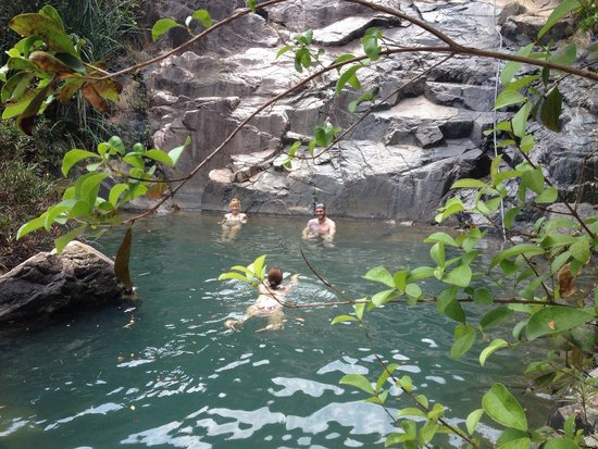 Life's a Beach: Cooling off after a hike to the waterfall.