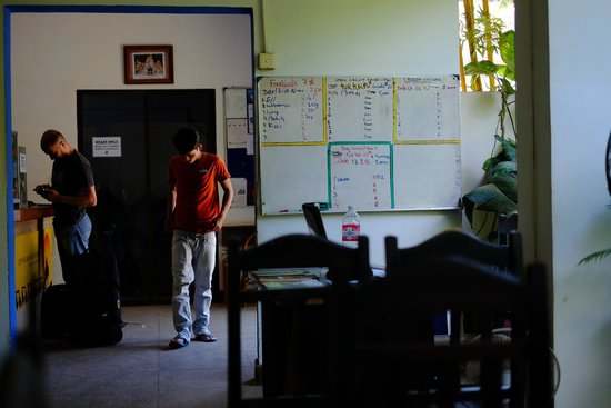 The Siem Reap Hostel: white board for different tours where you can share a tuk tuk with other travelers to save cost