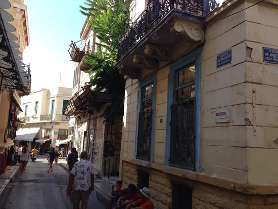 Adrianou street in Plaka district.