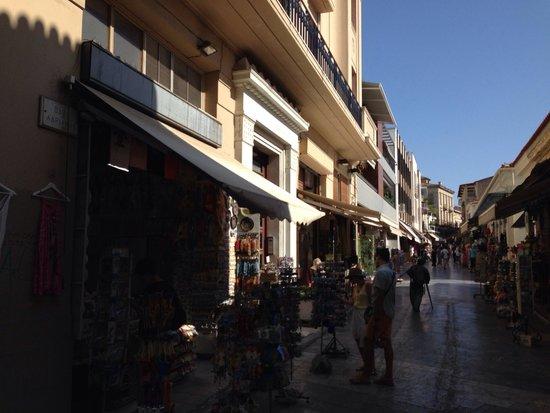 Adrianou street in Plaka Arhens.