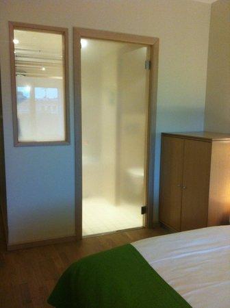 Clarion Hotel Sign: Rum 1: Toa och badrums dörr, tunn genomskinlig glasskiva