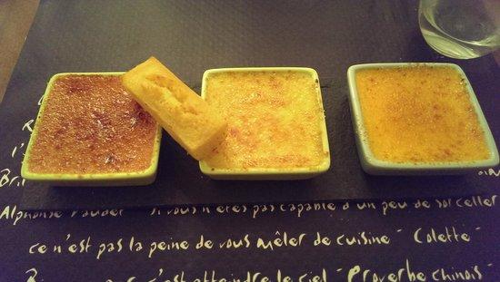 Aux Saveurs du Terroir : Dégustation de crèmes brulées (vanille, cerise, pêche/abricot)