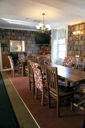 """Restaurant at The Castle of Brecon Hotel: """"Library"""" tables"""