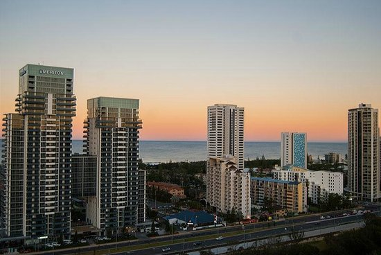 The Star Gold Coast: View from a 20th floor room at sunset