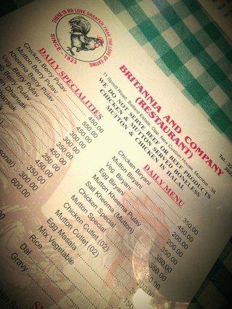 Britannia & Company Restaurant : Menu
