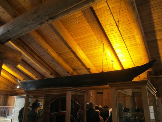 Museum of Northern British Columbia: First Nations Canoe suspended from the ceiling