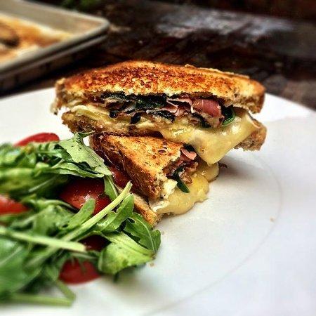Culina Millcreek: House Pancetta, Market Spinach & Brie brunch feature sandwich