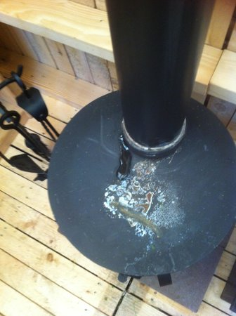 Norfolk Glamping & Yurt Holidays: The non sealed leaking woodburner in the shack.