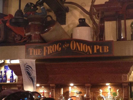 Frog and Onion Pub: Sign over the bar