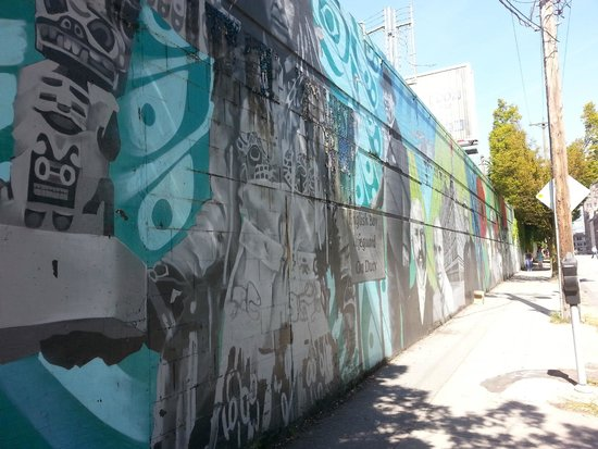 YWCA Hotel Vancouver: Expansive street art located between the hotel and the nearest Skytrain station.