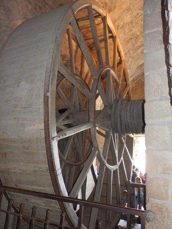 Abbaye du Mont-Saint-Michel : Wheel for hoisting driven by manpower??