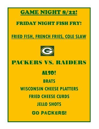 Bridge Tender Inn: AUGUST 22 FISH FRY PACKERS GAME!